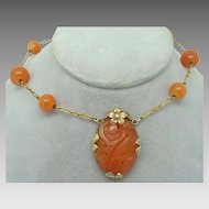 Carved Carnelian Vermeil Pendant with Carnelian Beads