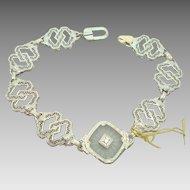 White Gold Diamond Camphor Glass Filigree Bracelet