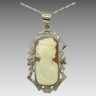 14 Karat Shell Cameo Pendant with Fancy Boarder