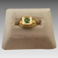 14 Karat Round .20ct Emerald Ring