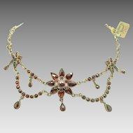 Bohemian Garnet Necklace w Rose Cut Garnets