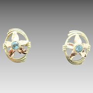 Retro 14 Karat Gold Genuine Natural Aquamarine Earrings with Rose Gold Flowers