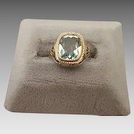 Exquisite 10 Karat Filigree Ring w/ 2.22ct Aqua