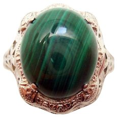 14 Karat Gold Oval Genuine Natural Malachite Filigree Ring