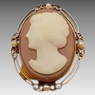 Victorian Agate Hard Stone Cameo Pin with Pearls