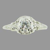 Platinum Art Deco Filigree .37ct Genuine Natural Diamond Ring