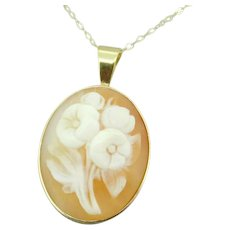 14k Yellow Gold Floral Genuine Natural Shell Cameo Pendant
