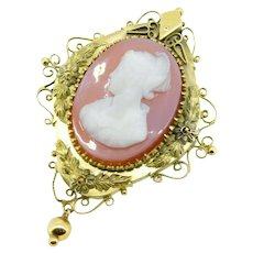 Large 14k Yellow Gold Victorian Genuine Natural Stone Cameo Pin Pendant