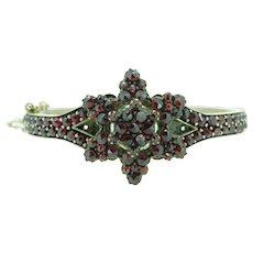 Genuine Natural Bohemian Garnet Bangle Bracelet with Safety Chain