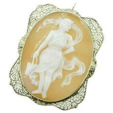 Art Deco 14K Gold Filigree Full Figure Genuine Natural Shell Cameo Pin