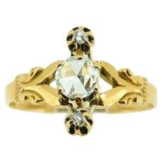 10k Rose Gold Victorian Rose Cut Genuine Natural Diamond Ring