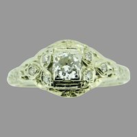 Art Deco 18K White Gold Filigree .46ct Genuine Natural Diamond Ring