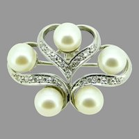 14k White Gold Cultured Pearl and Diamond Pin and Pendant