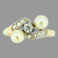 18k Yellow Gold Victorian Pearl and Diamond Ring Victorian