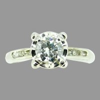 Vintage 18k Gold Genuine Natural Diamond Engagement Ring 3/4ct Total