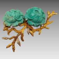 Elegant 14 karat Carved Turquoise Flower Pin