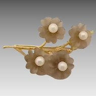 14 karat Pin with Smoky Quartz Carved Flowers and Pearl