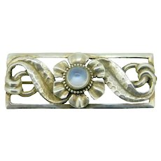 Sterling Silver Arts and Crafts Handwrought Genuine Natural Moonstone Pin
