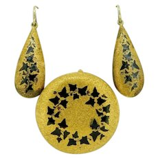18k Yellow Gold Victorian Pin and Earring Set Black Enamel