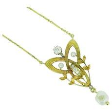 14k Yellow Gold Art Nouveau Diamond Lavaliere Pendant