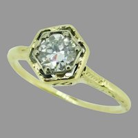 14k Yellow Gold Art Deco 1/2ct Genuine Natural Diamond Ring