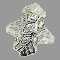 Deco 14k White Gold Genuine Natural Diamond Filigree Ring .20ct TW