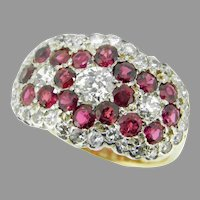 10k Yellow Gold Victorian 1.30ct Genuine Natural Diamond and Ruby Ring