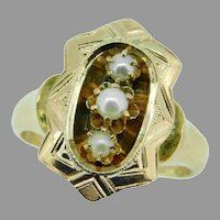 14k Yellow Gold Victorian Cultured Pearl Ring