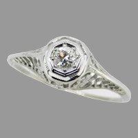 Art Deco 18k Filigree .15ct Genuine Natural Diamond Ring with Flowers