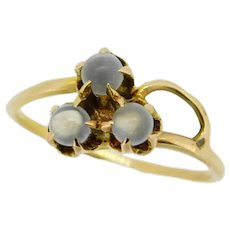 10k Yellow Gold Victorian Genuine Natural Three Moonstone Clover Ring