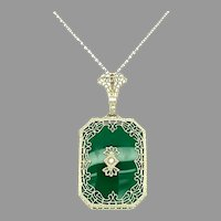 14k White Gold Filigree Genuine Natural Chrysoprase Pendant w/ Diamond