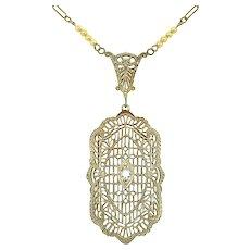 14k White Gold Filigree Genuine Natural Diamond Necklace