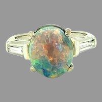 Platinum 2.30ct Black Genuine Natural Opal and Diamond Ring (#J4796)