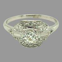 Vintage Platinum Genuine Natural Diamond Engagement Ring .59 Carat TW (#J4797)