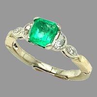 Platinum .81ct Genuine Natural Emerald and Diamond Ring (#J4798)