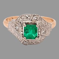 14K Emerald & Diamond Vintage Engraved Ring