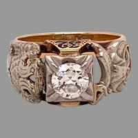 Masonic 10K Men's Ring .85ct Diamond Eagle