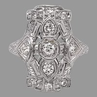 Art Deco 18K Filigree 1/2ct Diamond Ring