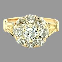 14K Victorian Mine cut Diamond Ring 1.61 carats tw