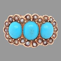 10K Victorian Turquoise & Seed Pearl Ring