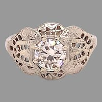 18K Filigree Art Deco .60ct Diamond Ring