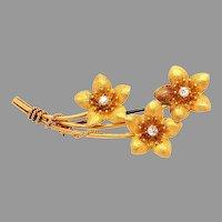14K Victorian Mine cut Diamond Flower Pin