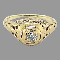 14K Yellow Gold Art Deco Diamond Filigree Ring