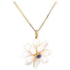 14 Karat Freshwater Pearls & Sapphire Daisy Pendant