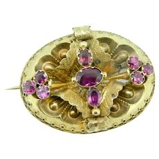 14k Gold Georgian Pin Brooch with Genuine Natural Almandine Garnets
