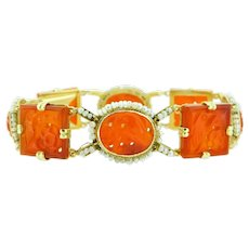 14K Chinese Export Carved Carnelian Bracelet