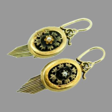 14k Gold Victorian Earrings With Applied Leaves and Fringe