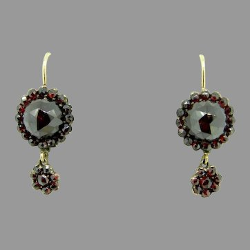 Genuine Natural Bohemian Garnet Dangle Earrings with 14k Gold Wires