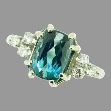 Platinum and 14k 3.02ct Teal Genuine Natural Tourmaline Ring