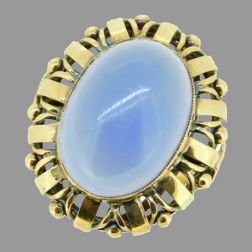14k Yellow Gold Large Retro Blue Genuine Natural Chalcedony Ring